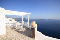 View on caldera and sea from balcony Royalty Free Stock Photo