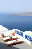 View on caldera and sea from balcony Royalty Free Stock Images