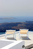 View on caldera and sea from balcony Stock Photos