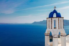 View of caldera with stairs and belfry, Santorini Stock Photos