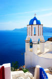 View of caldera with stairs and belfry, Santorini Royalty Free Stock Images