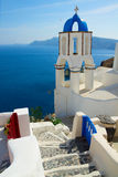 View of caldera with stairs and belfry, Santorini Royalty Free Stock Image