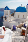 View of caldera with stairs and church, Santorini Stock Images