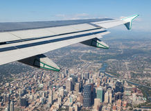 View of Calgary Downtown Outside Airplane Window Royalty Free Stock Images