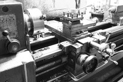 View of the caliper lathe machine tool. On metalworking plant stock photography