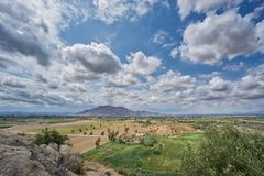 View of the Callosa mountain in Spain. With clouds stock photos