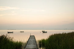 View at a calm bay at twilight time Royalty Free Stock Photos