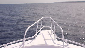 View of a calm sea from the bow of a boat. View from the bow of moving ship at sea stock video footage