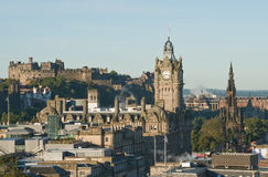 View from Calton Hill, Edinburgh. View of the city of Edinburgh from the vantage point of Calton Hill, showing the castle, Scott monument and other landmark Royalty Free Stock Photography