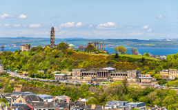 View of Calton Hill from Holyrood Park - Edinburgh. Scotland Royalty Free Stock Images
