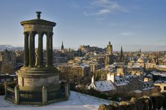 View from Calton Hill in winter with Dugald Stewart Monument in the foreground and Edinburgh Castle, Scott Monument and Balmoral C stock image