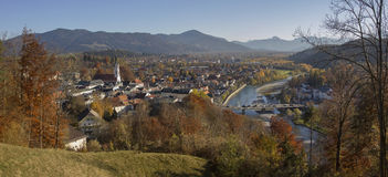 View from calvary hill to spa town bad tolz in autumn Stock Photo