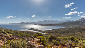 View of Calvi citadel and mountains from Revellata in Corsica Stock Photography