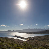 View of Calvi citadel and mountains from Revellata in Corsica Stock Photo