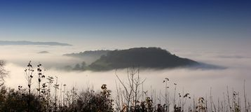 View of Cam Long Down and hills from Uley Fort, Uley, Gloucestershire, UK stock photos