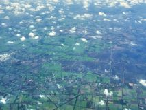 A view of Cambodian or Vietnam fields from airplane stock image