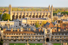 View of Cambridge's Colleges. Panoramic view of several College buildings in Cambridge, seen from the tower of St. John's College Stock Photography