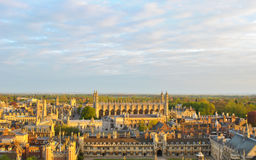 View of Cambridge's Colleges. Panoramic view of several College buildings in Cambridge, seen from the tower of St. John's College Royalty Free Stock Photography
