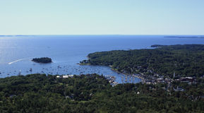 View of Camden harbor. A beautiful view of the harbor and ocean in Camden, Maine from Mount Battie in Camden Hills State Park Stock Images
