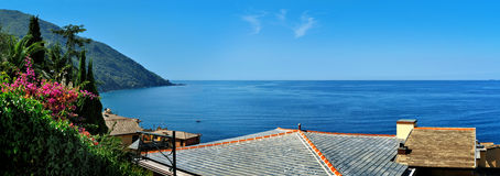 View Camogli from roofs. Panoramic view Camogli from roofs Stock Image