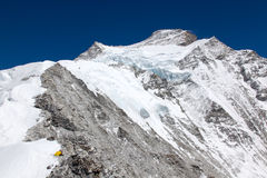 View from Camp 1 on Cho Oyu. Up to the summit Stock Photography