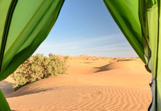 View from camp on sand dunes. Erg Chebbi Sand dunes near Merzouga, Morocco Stock Photo
