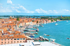 View from Campanile bell tower on boats and ships in Grand Canal Royalty Free Stock Image