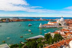 View from Campanile di San Marco to Venice, Italy. View from Campanile di San Marco to Basilica di Santa Maria della Salute, Dogana di Mare and Giudecca island Stock Photos