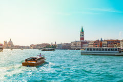 View of the Campanile in San marco& x27;s square in Venice. Royalty Free Stock Photo