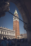 View of the Campanile of St. Mark& x27;s Square from the Ducal Palace. View of the Campanile of St. Mark& x27;s Square from the Ducal Palace, Venice Italy to Royalty Free Stock Images