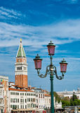 View of Campanile and street lamp in Venice Stock Image