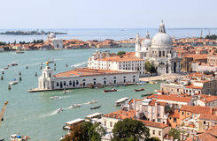 View from the Campanile in Venice to south, Italy. The south of Venice, seen from the Campanile di San Marco, the bell tower of St Marks Basilica. You see the Royalty Free Stock Photo