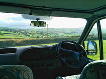 View from camper van into Wales countryside UK Royalty Free Stock Image