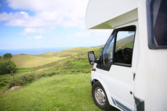 View of camping car placed by the seaside Stock Photography