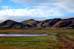 View on the camping in Landmannalaugar, Iceland. Royalty Free Stock Image