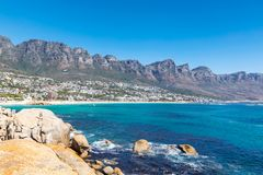 View Camps bay beautiful beach with turquoise water and mountains in Cape Town royalty free stock image