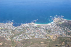 View of Camps Bay, Cape Town facing the Atlantic Ocean, from top Stock Images