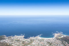 View of Camps Bay facing the Atlantic Ocean, Cape Town from top Stock Images