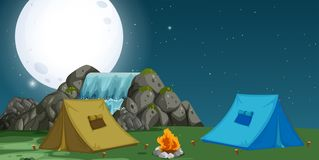 A view of campsite at night. Illustration royalty free illustration