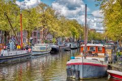 View of a canal in Amsterdam stock image