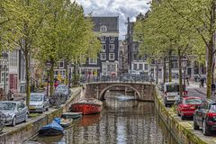 View of a canal in Amsterdam stock photography