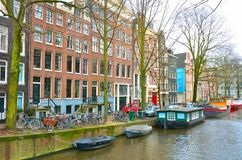 View of the canal of Amsterdam. Royalty Free Stock Photo