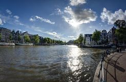 View on a canal in Amsterdam. Amsterdam canals , sunny dayin June Royalty Free Stock Images