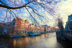 A view of canal of Amsterdam by day Stock Photo