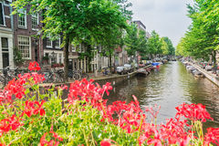 View of  canal in Amsterdam, Holland Stock Images