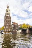 View on a canal in Amsterdam in late autumn Royalty Free Stock Images