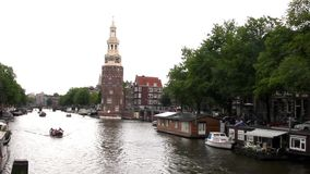 View of a canal in Amsterdam stock video