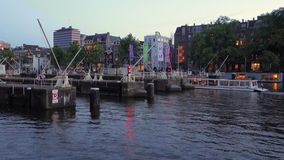 View of a canal in Amsterdam the netherlands stock video footage