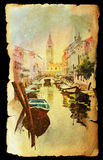 View of Venice on old paper Royalty Free Stock Photography