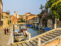 View of the canal with bridge in Venice Royalty Free Stock Photo